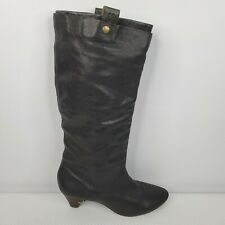 Frye Jenny Double Black Leather Boots 8.5 M Pull On Boots