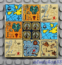 LEGO - 12 pcs Map & Compass Printed Tiles North South West Treasure Lot 1x1 2x2