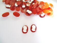 288 Lot VINTAGE LUCITE CAMEO STONES CARNEOL W/WHITE CAMEO  14X 10 MM RIGHT Face