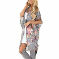 Women Floral Print Shawl Kimono Cardigan Tops Beach Cover Up Blouse Beachwear