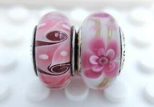 2 Pandora Silver 925 ALE Murano Charm Pink Swirl Flowers Spring Garden Beads