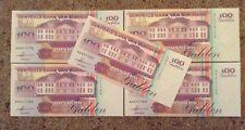 Set Of 5 X Suriname Banknotes. 100 Gulden. Uncirculated.