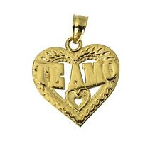 "14K Real Yellow Gold ""TE AMO"" Heart Charm Pendant"