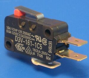"""2pcs ╍ 16Amp SPDT Microswitch ╍ 1.96N Short Lever, Snap action ╍ 1/4"""" Terminal"""