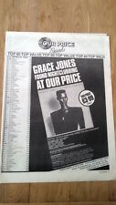 GRACE JONES Nightclubbing (OP) 1981 Poster size Press ADVERT 16x12 inches