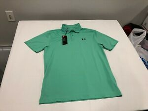 NWT $55.00 Under Armour Golf Men Performance Textured Polo Green Size LARGE