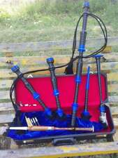 Great Highland Bagpipes blue Amounts/Scottish Bagpipe with Hard Case/chanter