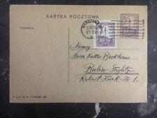 1922 Warsaw Poland Postcard Cover Uprated To Berlin Germany