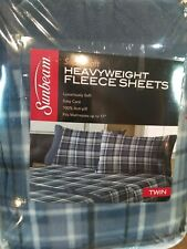 Sunbeam Super Soft Heavyweight Fleece Twin Sheet Set Blue Plaid 100% Anti Pill