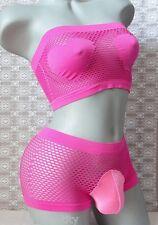 """Crossdress Men Hot Neon Pink Fishnet Bra Set Sissy Pouch Boyshort Panty 30""""- 36"""""""
