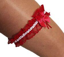 Süsses Braut-Strumpfband Hochzeit aus Spitze mit Satin-Schleife rot-weiß