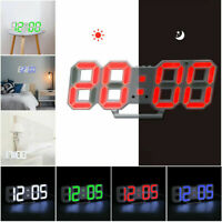 Digital 3D LED Display Desk Wall Clock Alarm Snooze Watch 12/24 Hours USB Home