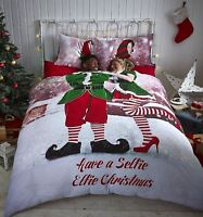 Catherine Lansfield Selfie Elfie Christmas Winter Festive Bedding Duvet Cover