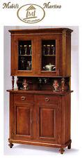 Credenza napoletana arte povera in legno massello, cristalliera, mobile