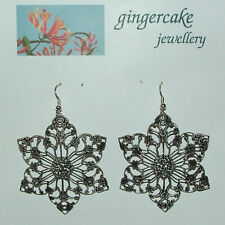 LARGE FILIGREE FLOWER SILVER PL EARRINGS WITH CRYSTALS