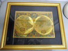 Map Gold Foil Framed Nova Totivs Terrarvm Orbis Geographica AC Foil Hydrographic