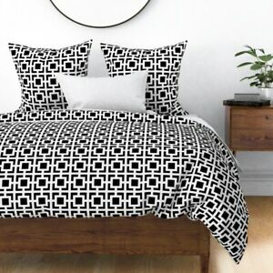 Black Moroccan Square Geometric Pearlphire White Sateen Duvet Cover by Roostery