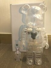 Emotionally Unavailable BE@RBRICK 100% & 400% clear with black heart innersect