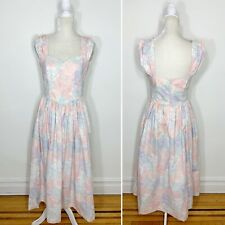 Vintage Laura Ashley Pink Purple Pastel Floral Sweetheart Fit Flare Midi Dress 8