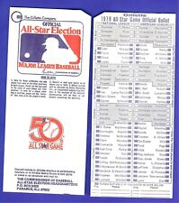 Lot of two 1979 MLB Baseball All-Star Game Ballot played in Seattle Gillette