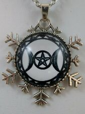 Wiccan Triple Goddess Pentacle Protection Glass Pendant Pagan Wicca Occult