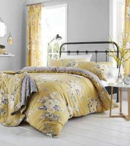 Catherine Lansfield Canterbury Ochre Reversible Designer Floral Duvet Cover Set