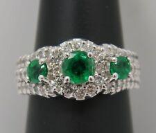 14K WHITE GOLD ~ Natural EMERALD & DIAMOND Three (3) Stone Halo Ring ~ STUNNING
