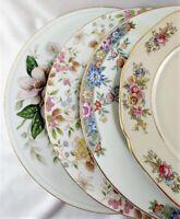 4 Vintage  Mismatched China Dinner Plates Florals Gold Trim  9.5-10 in.  # 43