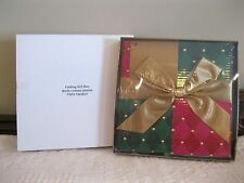 AVON FOLDING GIFT BOX - RED GREEN GOLD W/LID, RIBBON, BOW, & CARD - NEW - SEALED