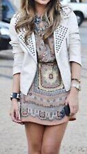 ZARA Beige Handkerchief Scarf Print Mulberry Silk Print Dress Size Small S