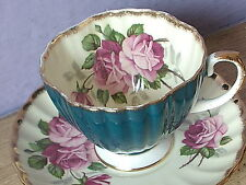 Vintage 1950's EB Foley England pink rose blue bone china tea cup teacup