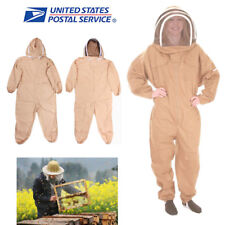 USA STOCK Cotton Full Body Bee Keeping Suit Veil Hood Protective Suit L/XL/XXL