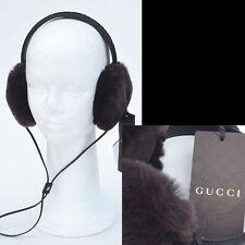 GUCCI New Auth Womens Designer Hat Guccissima GG Fur Leather Earmuffs Brown