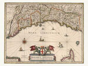Old Antique Decorative Map of Genoa Liguria Italy de Wit ca. 1682