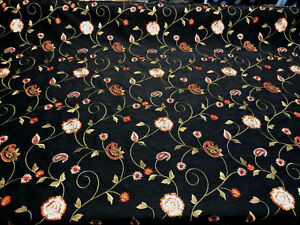 Emma Black Embroidered Floral Faux Silk Fabric by the yard