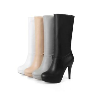 Ladies Stiletto Heels Combat Motorcycle Mid Calf Boots Pull on Platform Shoes