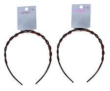 TRUE SPIRIT 2 x Plastic Flexible Hair Grip Girls Hair Band Brown Age 3+ Years
