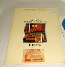 HEWLETT PACKARD 98034 SERIES 9800 DESKTOP COMPUTER INSTALLATION & SERVICE MANUAL