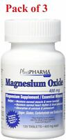 Plus Pharma Magnesium Oxide 400 mg Tablets 120 Each (Pack of 3)