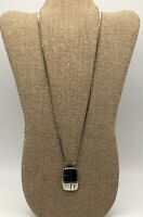 VINTAGE SILVER TONE CHAIN LINK NECKLACE WITH RETRO RECTANGLE PENDANT