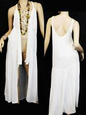 MAURICES WHITE CROCHET TRIM LONG COVER UP duster WOMEN'S PLUS SIZE 0/1 XL, 1X