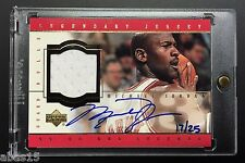 1999-00 MICHAEL JORDAN UPPER DECK SIGNED GAME USED JERSEY GOLD AUTO 17/25 UDA PE