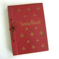 Vintage 40s 50s Scrapbook Unused Blank Cord Binding Red Gold 8 x 11 Photo Album