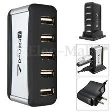 7 Ports USB 2.0 Hub Splitter High Speed AC Power Adapter for PC Laptop + US Plug