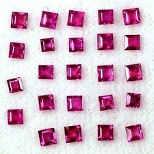 3.34 Cts Natural Flawless Pink Red Ruby Square Cut Lot Gemstone Oldmogok 2.5 mm