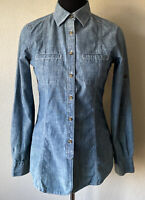 Brooks Brothers 1818 Tailored Fit Women's Size 2 L/S Shirt Chambray Cotton MINT