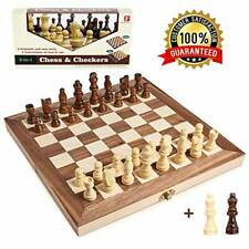 Wooden Chess Set for Kids and Adults, Travel Chess Board Folding Chess and Check