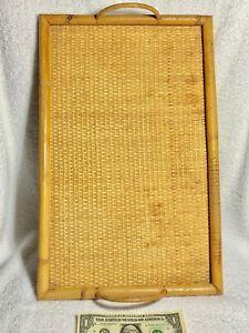 Nice Medium-Sized Woven Cane Tray Bamboo Frame & Handles Firm Plywood Bottom Tan