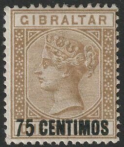 Gibraltar 1889 QV 75c Surcharge on 1sh Bistre Mint SG21 cat £55