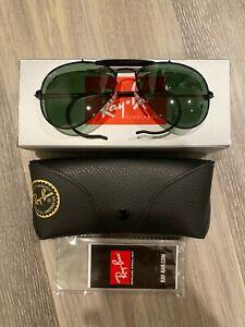 Ray Ban AVIATOR OUTDOORSMAN Sunglasses Black RB 3030 L9500 G-15 Glass Lens 58MM
